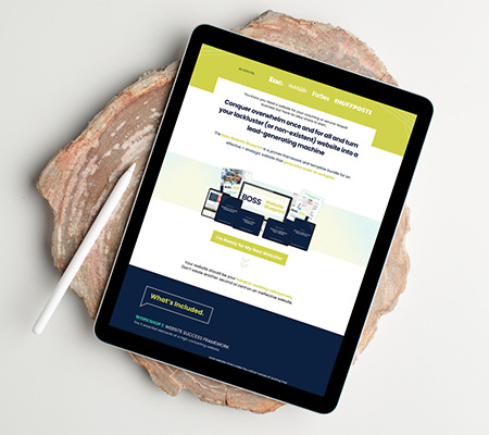 sales page design on tablet screen