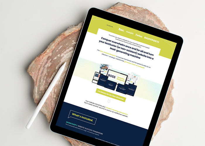 sales page conversion design showing on tablet screen